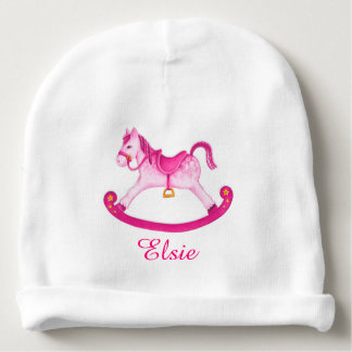 Rocking horse art personalized baby girl beanie