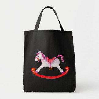 Rocking horse art pink red grey bag