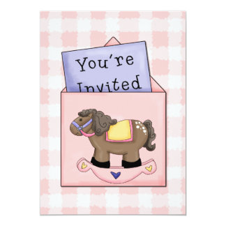 Rocking Horse Baby Girl Shower Invitation
