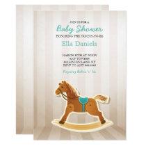 Rocking Horse Baby Shower Boy Invitation