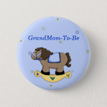 Rocking Horse Baby Shower Grandmother Pin Button