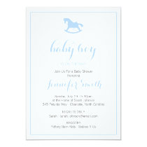 Rocking Horse Baby Shower Invitation Blue
