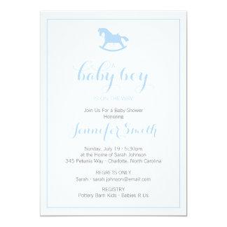 Rocking Horse Baby Shower Invitation Blue