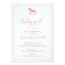 Rocking Horse Baby Shower Invitation Coral