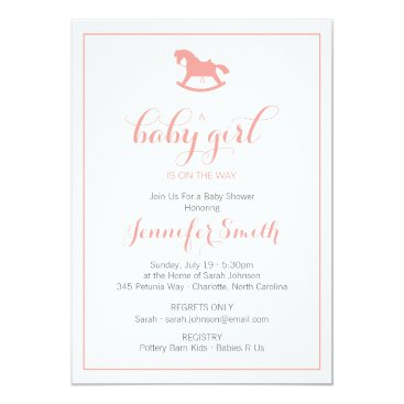 Toddler & Baby themed Rocking Horse Baby Shower Invitation Coral