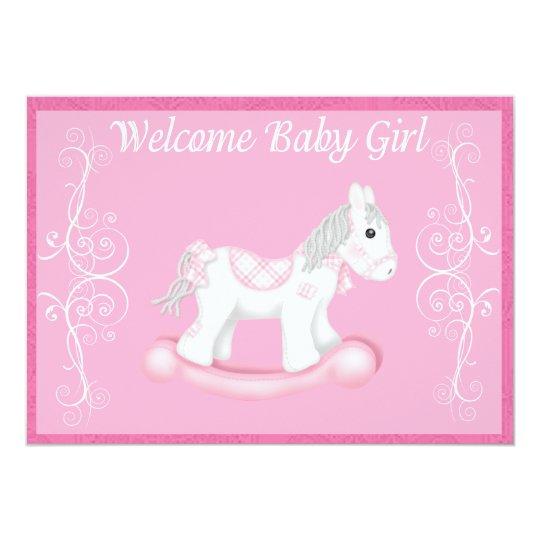 Rocking Horse  Baby Shower Invitation (Girl)