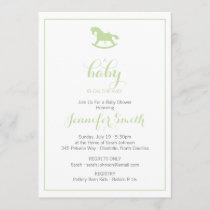 Rocking Horse Baby Shower Invitation Mint