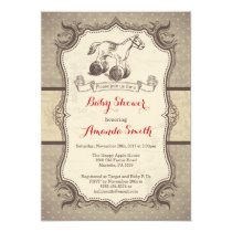 Rocking Horse Baby Shower Invitation Vintage Retro