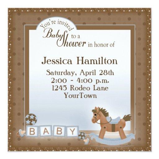 "Rocking Horse Baby Shower Invitations 5.25"" Square Invitation Card"