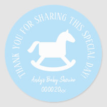 Rocking horse baby shower party favor thank you classic round sticker