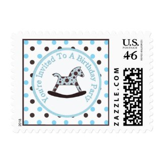 Rocking Horse Birthday Party Postage zazzle_stamp