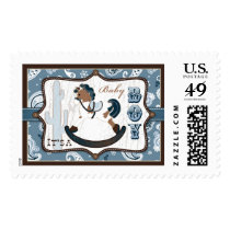 Rocking Horse Blue Bandanna Print Baby Shower Postage