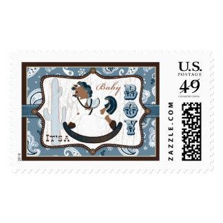 Rocking Horse Blue Bandanna Print Baby Shower Postage Stamp