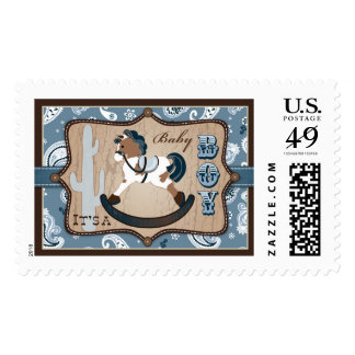Rocking Horse Blue Bandanna Print Baby Shower Stamp