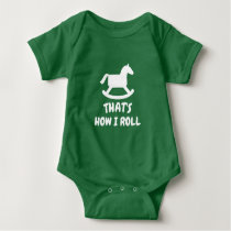 Rocking horse bodysuit for new baby boy or girl