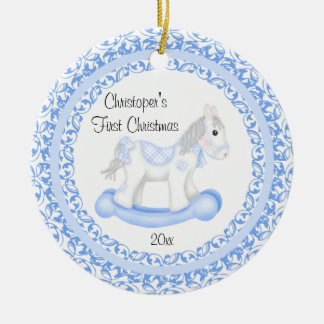 Rocking Horse Boy Baby's First Christmas Ornament