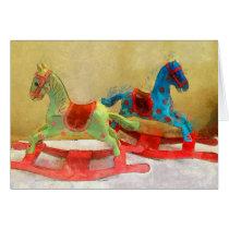 Rocking Horse, Children, Toy, Christmas Card, Art Card