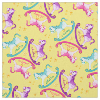 Custom pink horse fabric for upholstery quilting and for Kids horse fabric
