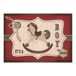 Rocking Horse Cowboy Baby Shower Barn Red Card