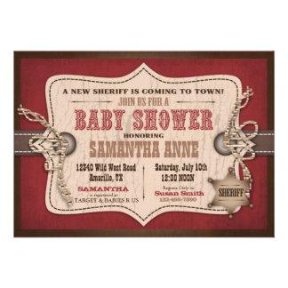 Rocking Horse Cowboy Baby Shower Barn Red Custom Invitation
