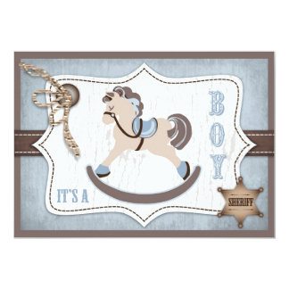Rocking Horse Cowboy Baby Shower Blue Card