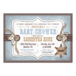 Rocking Horse Cowboy Baby Shower Blue Personalized Invitations