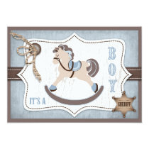 Rocking Horse Cowboy Baby Shower Blue Invitation