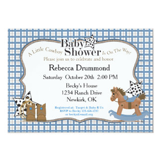 Rocking Horse Cowboy Baby Shower Invitation
