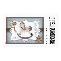 Rocking Horse Cowboy Rustic Western Baby Shower Postage
