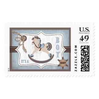 Rocking Horse Cowboy Rustic Western Baby Shower Stamp