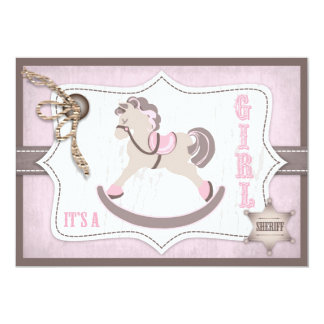 Rocking Horse Cowgirl Baby Shower Pink Card