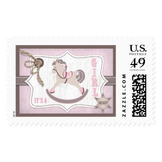 Rocking Horse Cowgirl Rustic Western Baby Shower Postage Stamp