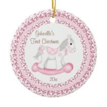 Rocking Horse Girl Baby's First Christmas Ornament