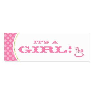 Rocking Horse Girl Skinny Gift Tag Mini Business Card