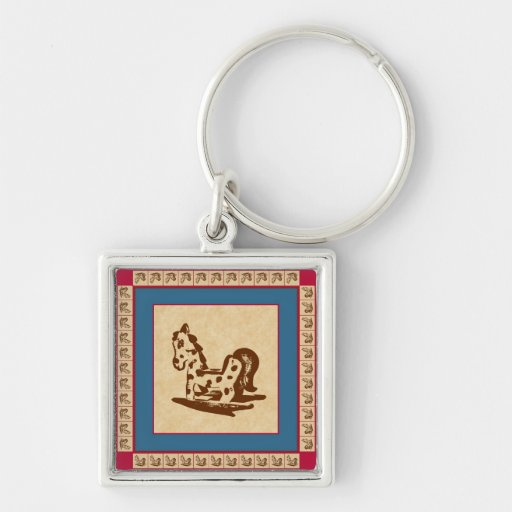 Rocking Horse Illustration with Fancy Border Key Chains
