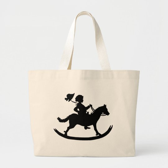 Rocking horse large tote bag