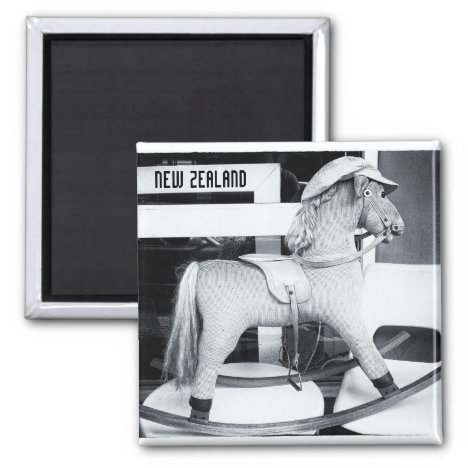 Rocking Horse, New Zealand BW (Fridge Magnet)