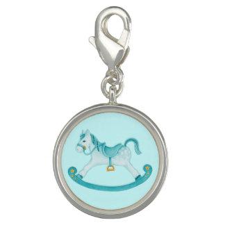 Rocking horse painting aqua teal charm