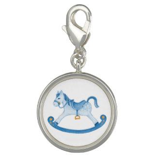 Rocking horse painting blue white charm