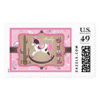 Rocking Horse Pink Bandanna Print Baby Shower Postage Stamps