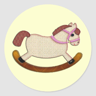 Rocking Horse Pink Blank Classic Round Sticker