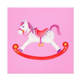 Rocking horse pink watercolor nursery art canvas print