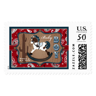 Rocking Horse Red Bandanna Print Baby Shower Postage