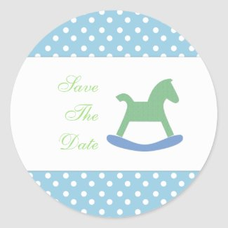 Rocking Horse Save The Date Stickers sticker