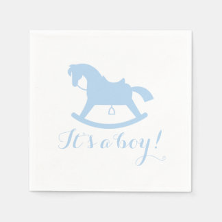 Rocking Horse Silhouette Baby Shower Napkins Blue