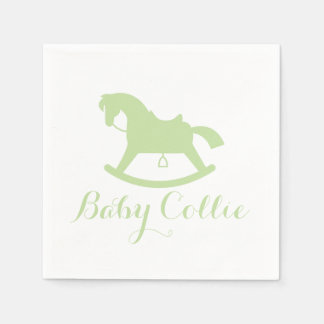 Rocking Horse Silhouette Baby Shower Napkins Green