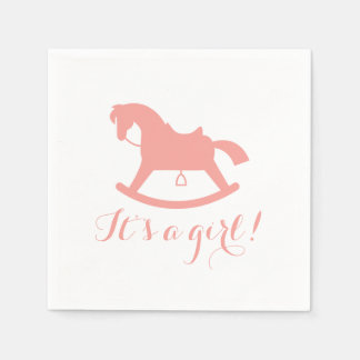 Rocking Horse Silhouette Baby Shower Napkins Pink