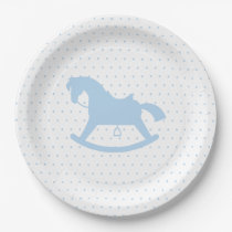 Rocking Horse Silhouette Baby Shower Plate Blue