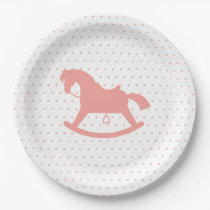 Rocking Horse Silhouette Baby Shower Plate Pink