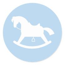 Rocking Horse Silhouette Baby Shower Sticker Blue